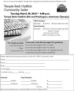 TBH Seder Info and RSVP Form