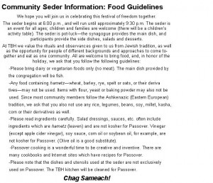TBH Community Seder Guidelines